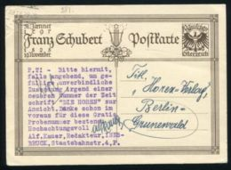 AUSTRIA MUSIC SCHUBERT POSTAL STATIONERY 1929 - Austria