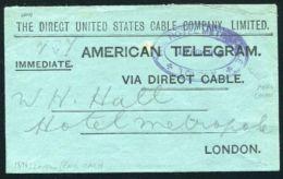 GREAT BRITAIN UNITED STATES TELEGRAM HOTEL METROPOLE LONDON 1896 - 1840-1901 (Victoria)