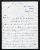 FINE ORIGINAL LETTER PRINCESS HELENA VICTORIA LORD DAWSON PHYSICIAN KING - Other Collections