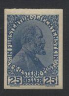 LIECHTENSTEIN 1915 IMPERF 25 HELLER - Liechtenstein