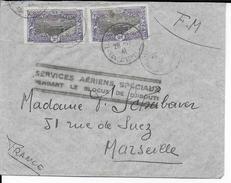 COTE DES SOMALIS - 1941 - LETTRE FM De DJIBOUTI  Avec SERVICE AERIEN SPECIAL (BLOCUS) => MARSEILLE - Côte Française Des Somalis (1894-1967)