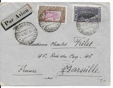 COTE DES SOMALIS - 1936 - LETTRE Par AVION De DJIBOUTI  => MARSEILLE - Côte Française Des Somalis (1894-1967)