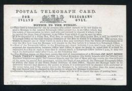 GREAT BRITAIN STATIONERY 1872 TELEGRAPH TELEGRAM CARD - 1840-1901 (Victoria)