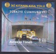 AC - TURKEY BLOCK STAMP - EURASIA TUNNEL MNH ISTANBUL 30.01.2017 - 1921-... República