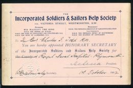INCORPORATED SOLDIERS & SAILORS HELP SOCIETY CERTIFICATE 1902 REV CHARLES TODD - Unclassified