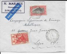 COTE DES SOMALIS - 1940 - LETTRE Par AVION De DJIBOUTI  => LYON - Côte Française Des Somalis (1894-1967)