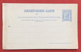 AUSTRIA  - CORRESPONDENZ-KARTE  ZUR PNEUMATISCHEN EXPRESS CARTOLINA POSTA PNEUMATICA - Storia Postale