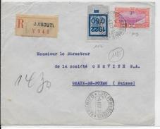 COTE DES SOMALIS - 1933 - LETTRE RECOMMANDEE De DJIBOUTI  => CHAUX DE FONDS (SUISSE) - Côte Française Des Somalis (1894-1967)