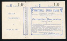 TICKET WHITEHALL GRAND STAND CORONATION PROCESSION OF KING EDWARD VII 1902 - Other Collections