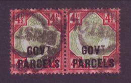 GB QV 41/2d GOVT PARCELS OFFICIAL OVERPRINT USED PAIR - 1840-1901 (Victoria)