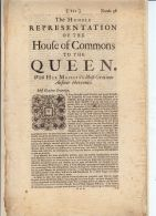 HOUSE OF COMMONS REPRESENTATION TO QUEEN ANNE 1711 - Other Collections