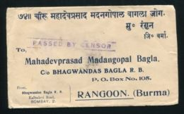 INDIA KING GEORGE 6TH CENSOR COVER BOMBAY - India (...-1947)