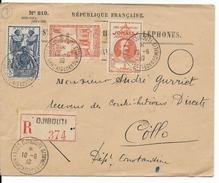 COTE DES SOMALIS - 1939 - LETTRE RECOMMANDEE De DJIBOUTI  => COLLO (ALGERIE) - Côte Française Des Somalis (1894-1967)