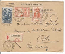 COTE DES SOMALIS - 1939 - LETTRE RECOMMANDEE De DJIBOUTI  => COLLO (ALGERIE) - Lettres & Documents