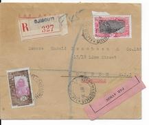 COTE DES SOMALIS - 1935 - LETTRE RECOMMANDEE Par AVION De DJIBOUTI  => LONDRES - VOYAGEE Par VOIE MARITIME (VOIR DOS) - Lettres & Documents