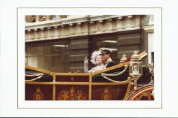 CHRISTMAS CARD PRINCE CHARLES IN A CARRIAGE WITH QUEEN ELIZABETH QUEEN MOTHER - Autographs