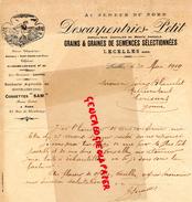 59- LECELLES- LETTRE MANUSCRITE SIGNEE- DESCARPENTRIES PETIT- AGRICULTEUR -AU SEMEUR DU NORD-1919 MOYVILLERS - Agriculture
