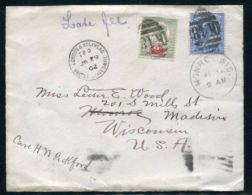 GB COMBINATION VICTORIA EDWARD RAILWAY US MAIL WISCONSIN 1902 LATE FEE - 1840-1901 (Victoria)