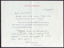 BRITISH ACTOR MICHAEL REDGRAVE SIGNED LETTER - Zonder Classificatie