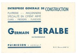 Carte Commerciale Entreprise Générale De Construction Germain Péralbe, Puimisson, Hérault - Publicités