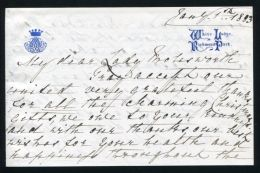 WHITE LODGE LETTER PRINCESS MARY ADELAIDE MOTHER QUEEN MARY 1883 - Historical Documents