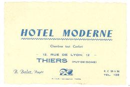 Carte Commerciale Hôtel Moderne, Thiers ( Puy De Dôme ), B. Balez, Propr. - Publicités