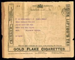 INDIA KGV TELEGRAM/TEA/CIGARETTES/CARS/SILVER 1926 - India (...-1947)
