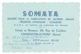 Carte Commerciale Somata, Charenton Le Pont, Tampon E. Barrot, Paris XIIe - Publicités