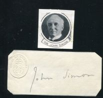 GREAT BRITAIN SIGNATURE SIR JOHN SIMON PARLIAMENT - Alte Papiere