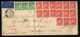 AUSTRALIA GEORGE VI USED ABROAD LONDON AIR MAIL CANNES FRANCE 1937 DUAL POSTMARK - Postmark Collection
