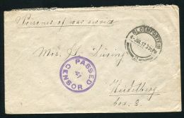 SOUTH AFRICA WORLD WAR ONE TEMPE INTERNMENT CAMP P.O.W. MISSIONARY CENSOR 1917 - South Africa (...-1961)