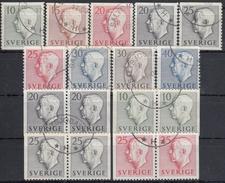 SUECIA 1951/1952 Nº 355/63 + 355b/60b USADO