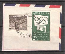 AUSTRALIA , JO 1956 Olympics Melbourne 2 S Sur Fragment + Ornithorynque 9 P Platypus Obl 1 DEC 1955, TB