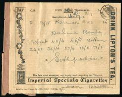 INDIA KG5 TELEGRAM CIGARETTES TOBACO TEA BOMBAY OIL - India (...-1947)