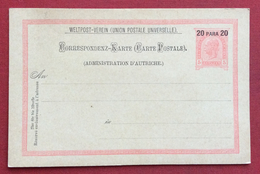 AUSTRIA  LEVANTE  -  CARTOLINA POSTALE   20 Para + 20 Su 5 Kr. - Covers & Documents
