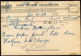 GREAT BRITAIN RAILWAYS NOTTHINGHAM VICTORIA STATION TELEGRAMS 1903 - 1902-1951 (Kings)