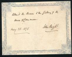 GREAT BRITAIN SIGNATURE JOHN BRIGHT QUAKER CORN LAWS PARLIAMENT 1878 - Old Paper