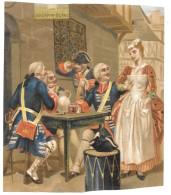 Grande Chromo Publicitaire CHICOREE BONZEL Haubourdin 18x22  Circa 1880 -MILITARIA -4 MILITAIRES AU LAPIN BLANC -TAMBOUR - Advertising