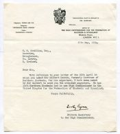 SIR GILBERT RENNIE GOVERNOR NORTHERN RHODESIA ZIMBABWE 1954 AUTOGRAPH NOTE - Old Paper