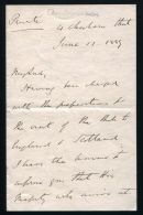 SHAH OF PERSIA VISITS BRITAIN 1889 LETTER FROM SIR HENRY DRUMMOND WOLFF 1889 - Other Collections