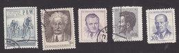 Czechoslovakia, Scott #588, 599, 602, 607, 617, Used, Cyclists, Janacek, Gottwald, Fucik, Zapotocky, Issued 1953