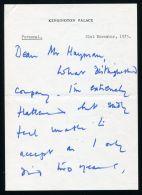 HANDWRITTEN LETTER EARL SNOWDON KENSINGTON PALACE 1975 PRINCESS MARGARET - Unclassified
