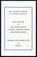 CEREMONIAL BAPTISM CHARLES ARMSTRONG -JONES 1999 ST JAMES PALACE LORD LINLEY - Other Collections