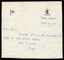 LETTER PRINCE GEORGE DUKE OF KENT HMS IRON DUKE 1921 MESS BILL MALTA - Other Collections