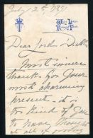FRANCIS DUKE OF TECK LETTER 1891 WHITE LODGE FATHER OF QUEEN MARY GEORGE V - Other Collections