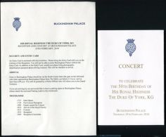 PROGRAMME LETTER CONCERT 50TH BIRTHDAY DUKE OF YORK BUCKINGHAM PALACE 2010 - Other Collections