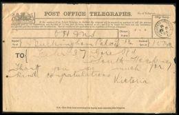 HRH PRINCESS VICTORIA TELEGRAM BUCKINGHAM PALACE 1903 - Other Collections