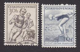Czechoslovakia, Scott #642, 644, Used, Runners, Swimmer, Issued 1954