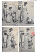 10073 - Lot De 4 CPA Série PLUIE Et SOLEIL, - Femmes