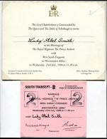 RARE TICKET WESTMINSTER  ABBEY WEDDING PRINCE ANDREW 1986 SARAH FERGUSON - Other Collections